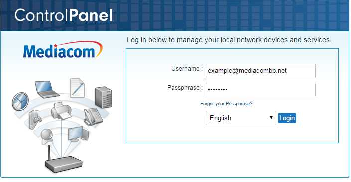 Here you will see the page asking to enter your Mediacom ID in the username and the passphrase to log in.